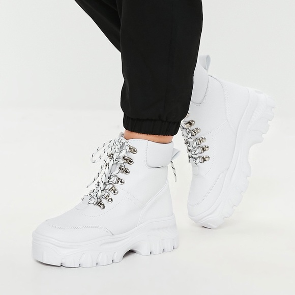 White Lace Up Chunky Platform Boots
